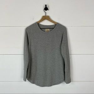 Chaser Gray Button Cuff Waffle Thermal Size L